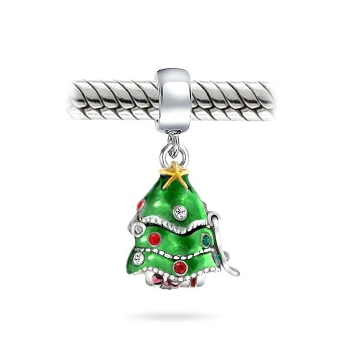 925 Argent Cz Arbre De Noël Secret Santa Pendent Cordon Charm