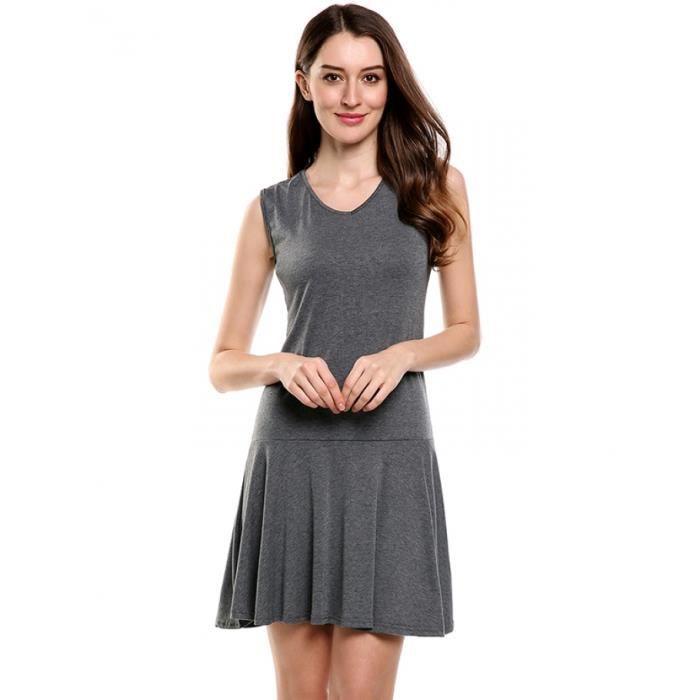 Robe femmes Casual sans manches v-cou ourlet plissés Pull élastique solide réservoir