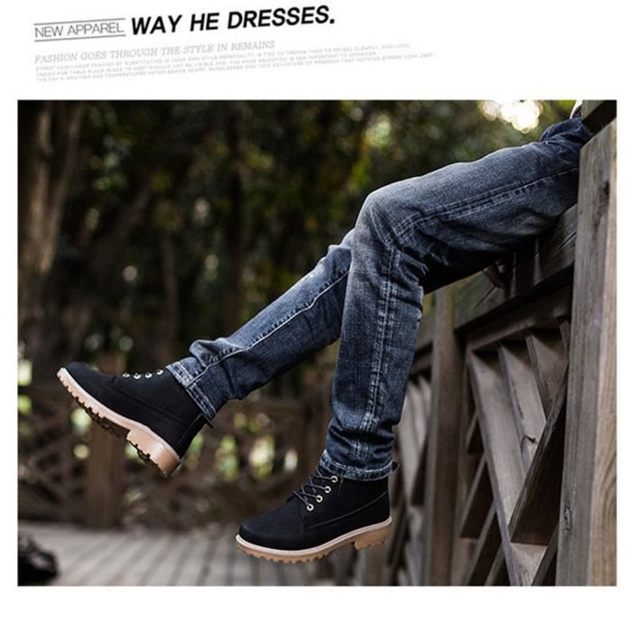 Martin Bottines Hommes Confortable Classique En Cuir Peluche Boots BLKG-XZ030Noir46-jr