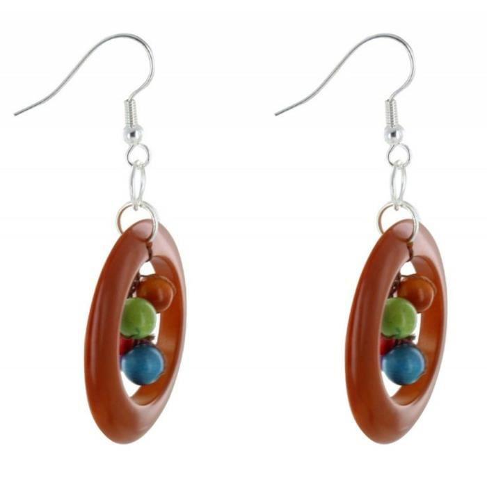 Les Poulettes Bijoux - Boucles dOreilles Cercle de Tagua Marron et Perles Multicolores