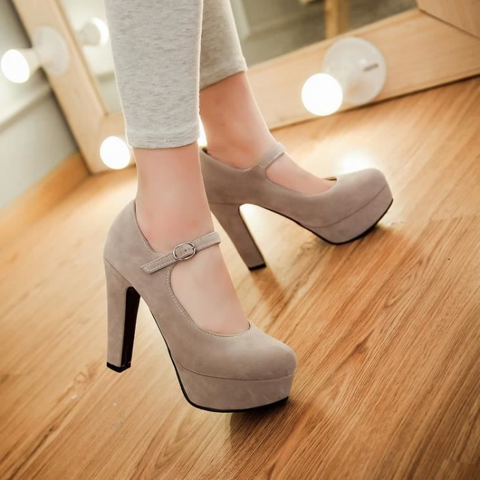 Pompes Talons hauts Femmes Sexy Solide Suede Bo...