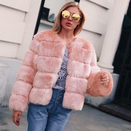 Fourrure Femmes Veste Manteau En Mesdames Parka Fausse Paontry6285 Solide D'hiver Chaud vêtement De Dégradé ZwZIgqTx