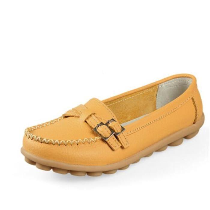 Luxe Cuir jaune Taille 2017 Moccasin Chaussures Loafer marron Grande Rouge 41 Nouvelle En noir Mode 35 Marque Femme Ete De orange BwOEYTq