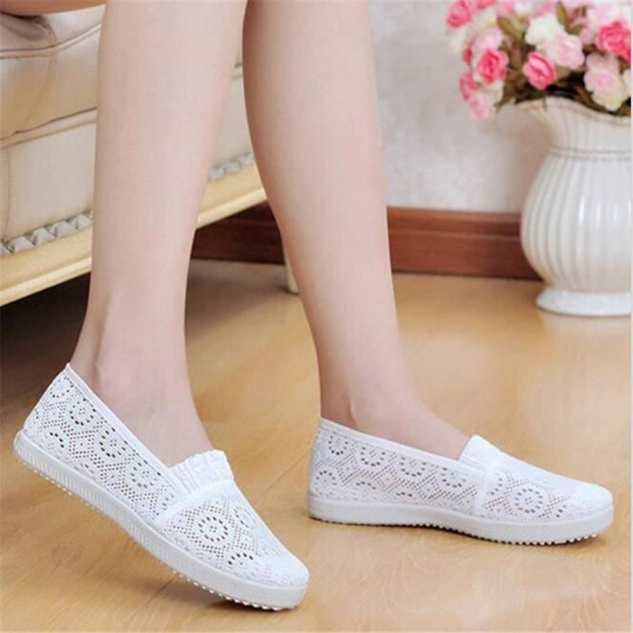 Chaussures pour Femmes Lace Ajouré Moccasins Femme style chinois Nouvelle Mode chaussures plates Plusieurs couleurs 35-40,jaune,35