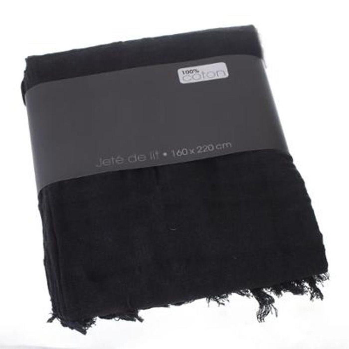 jetee de lit noir achat vente jetee de lit noir pas cher cdiscount. Black Bedroom Furniture Sets. Home Design Ideas