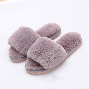 Chausson Femme Fluffy Peluche 2018 Hiver Extravagant Chausson Orteil exposé Confortable Antidérapant chaussure Plus Taille ID0vd6W