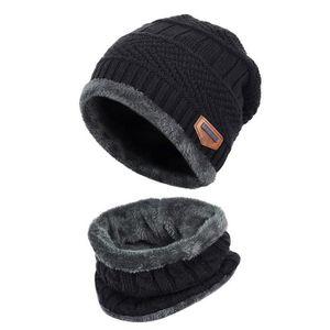 01c783106e5 BONNET - CAGOULE Bonnet Homme Coton 2Pcs Chapeau Chaud Tricot Enfan