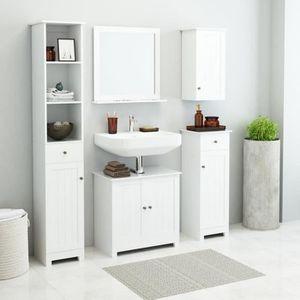 COLONNE - ARMOIRE SDB Ensemble de mobilier de salle de bain 5 pcs Blanc
