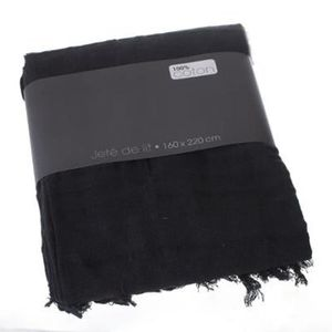 jetee de lit noir achat vente jetee de lit noir pas. Black Bedroom Furniture Sets. Home Design Ideas