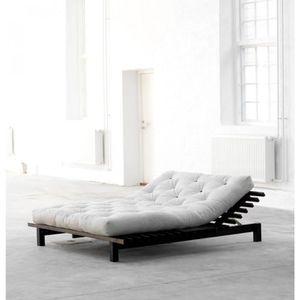 FUTON Lit futon blues en bois wengé 140x200 - Terre de N