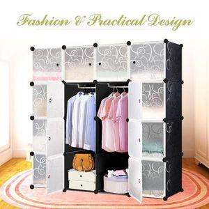 PENDERIE SOUPLE iKayaa Armoire modulable Garde-robe 4 étages 16 co