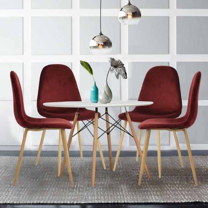 Chaises de cuisine rouge achat vente chaises de for Deco cuisine avec prix des chaises