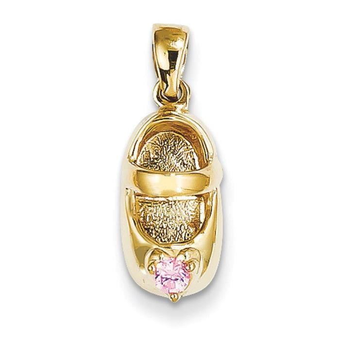 14 carats 3–doctobre avec Tourmaline rose Engraveable-Chaussure