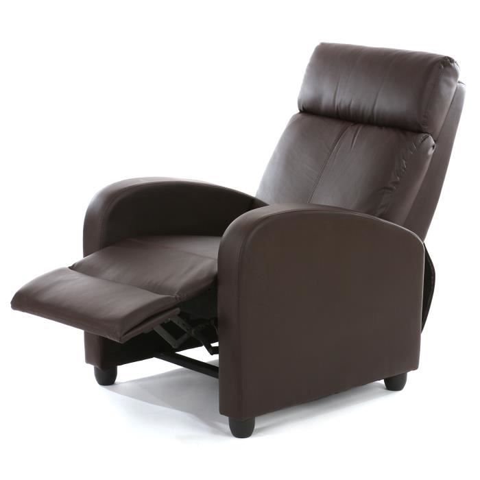 Fauteuil inclinable simili cuir brun tr¨s confortable Achat