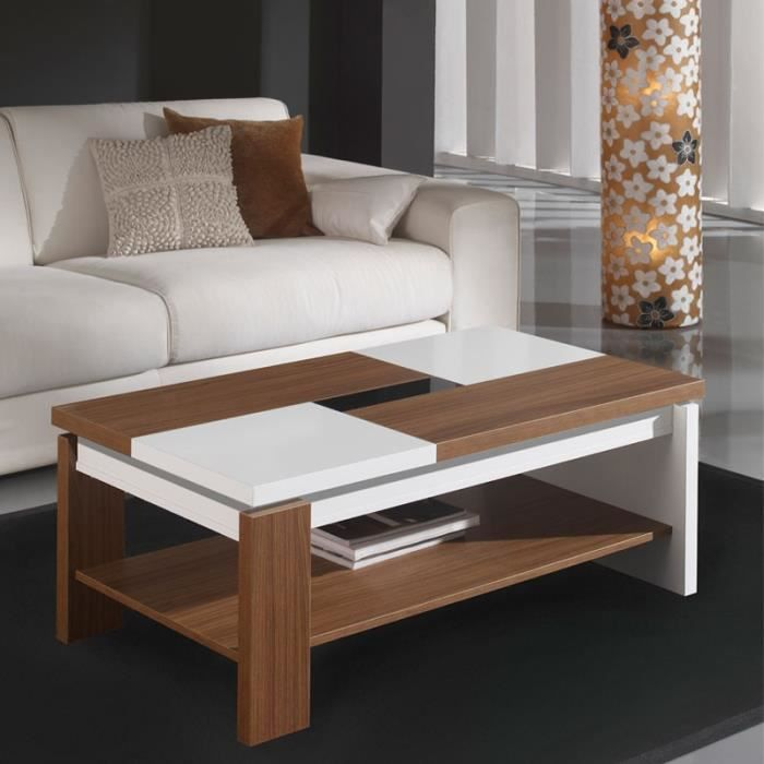 Table basse relevable blanc noyer lilau taille l 100 Table basse noyer gris