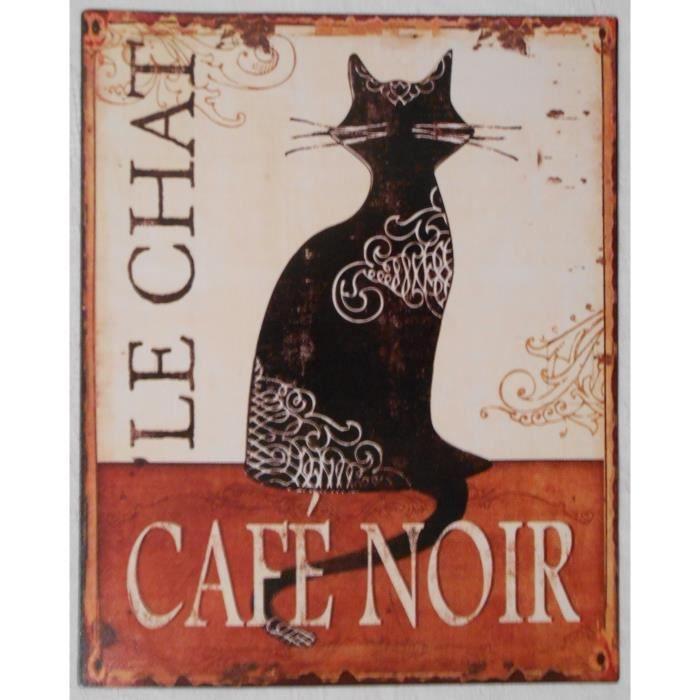 plaque publicitaire m tal le chat caf noir 25x20 achat vente objet d coration murale. Black Bedroom Furniture Sets. Home Design Ideas