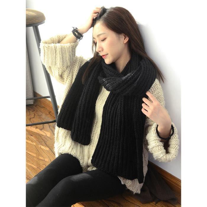 26c493f3b Longue écharpe noir hiver bavoir épaisse solide tricotée en laine femmes  adultes