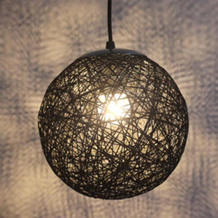Rotin Boule Luminaire E27 Noir Exbon 20cm En Nouveau Abat Suspension Jour Tissage Lustre tQdxhsrCB