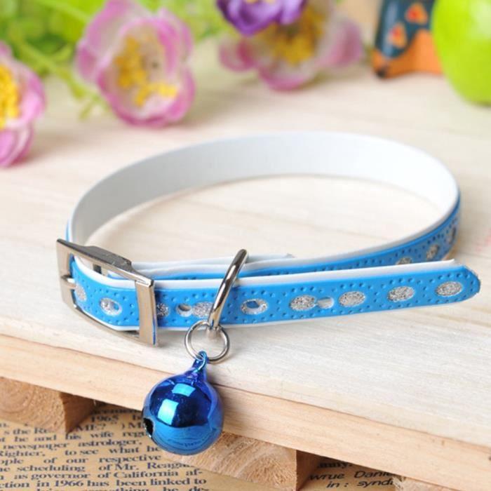 Bleu Collier De Chien Avec Clochette 200x150mm Pour Chat Petit