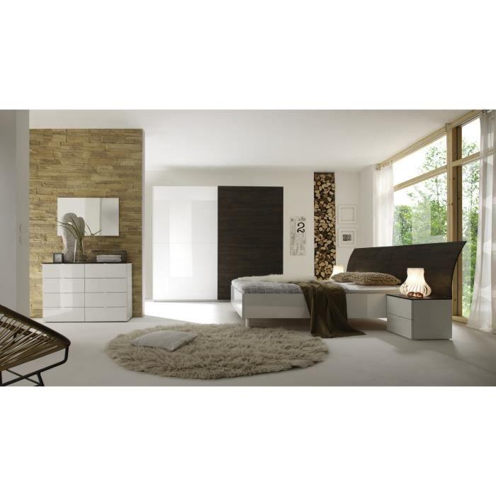 Chambre adulte complète design wengé-blanc laqué Ténérif II-180 x ...