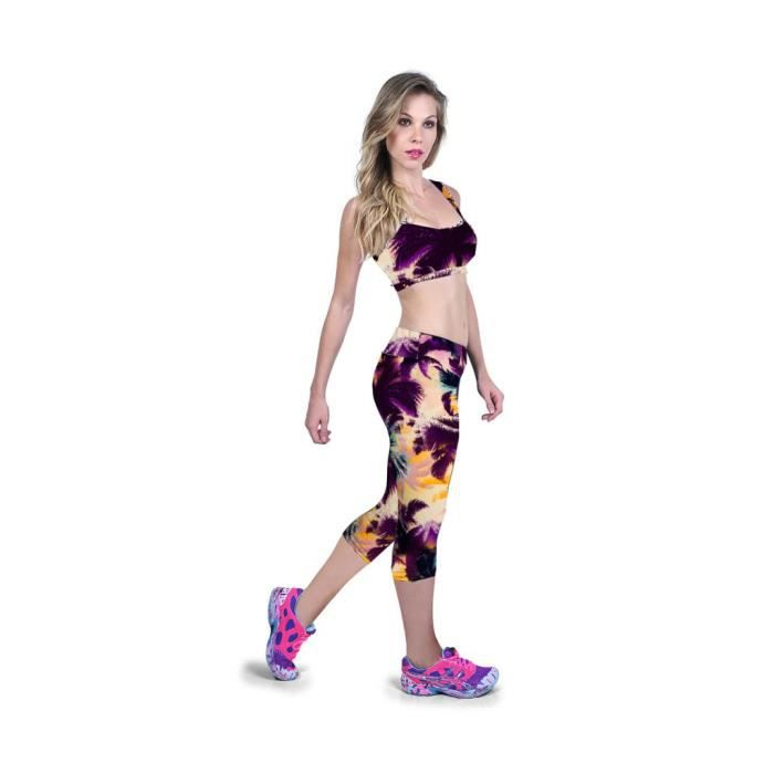 Legging Femme Corsaire Sport Pantalon Multicolore - Prix pas cher ... 41d2f5f7116