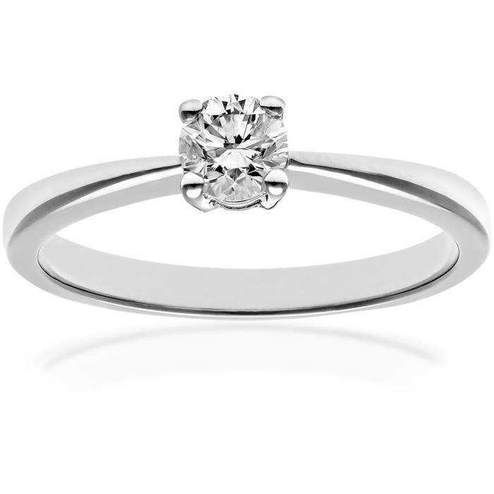 Revoni Bague Solitaire Diamant Or Blanc 750° Femme: Poids du diamant : 0.33 ct - CD-PR04306W18JPK-P