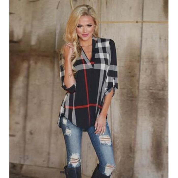 femme chemisier tunique blouse cossais manches noir achat vente chemisier blouse. Black Bedroom Furniture Sets. Home Design Ideas