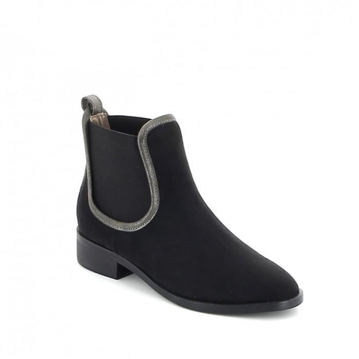 Chelsea boots matière suédine - Noir
