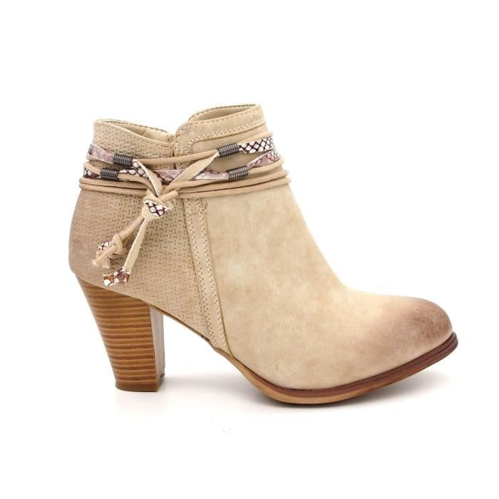 7f2e0be36b4 Chaussures Bottines boots Talon femme Bout rond cuir synthétique ...