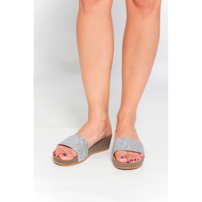 Sandales compensées argenté