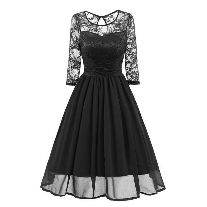 Benjanies®Femmes Vintage dentelle soirée mariage travail robe trois quart manches NOIR_XMM8117231