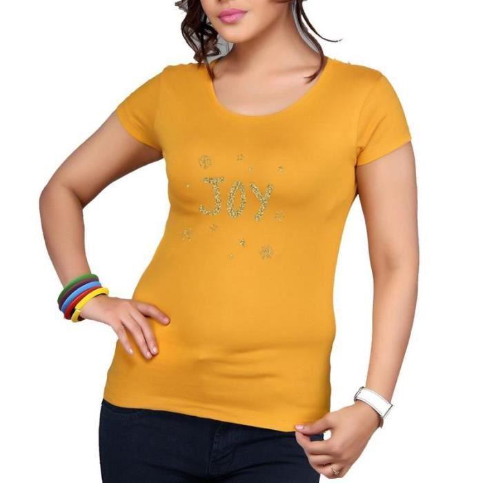 bc4d545f8cf Clifton Tee-shirt imprimé Femme Manches courtes Col rond-Moutarde-Joy-S