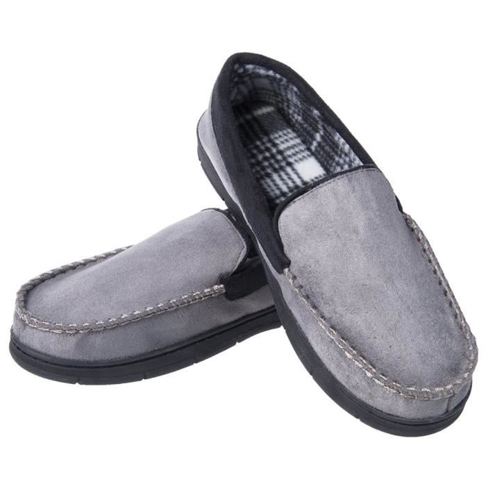Soft Warm Indoor Outdoor Anti-slip Microsuede Moccasins Flats Slippers Shoes B3TEX Taille-47