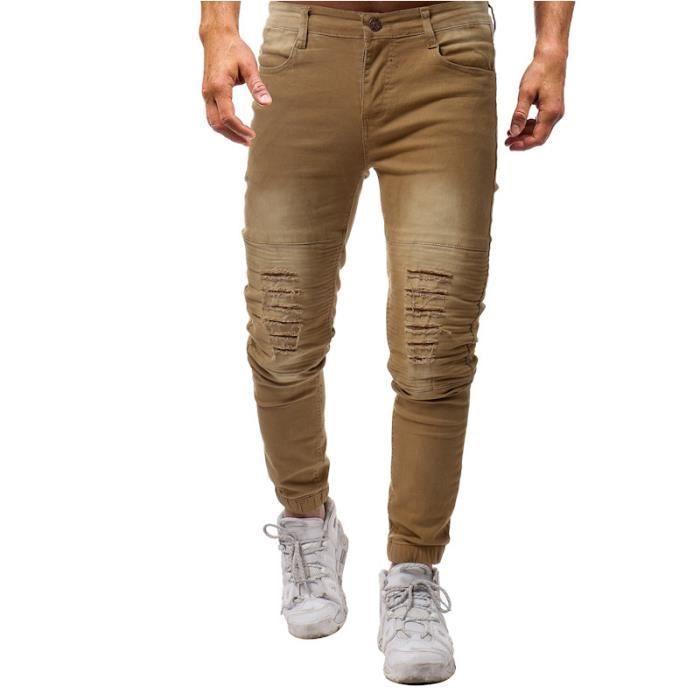 cheap for sale online for sale in stock Pantalons Homme pas cher en skinny stretch Couleur unie Pantalons hommes  Déchiré slim VêTement Masculin - Noir
