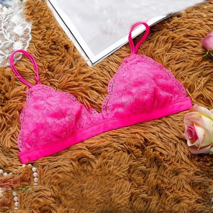 M Rose Triangle Bralette Bra Lace Vif Maille Crop Femmes Sheer Doublure Floral Lingerie En Top BAqHxn67w