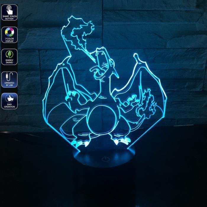 Led Lampe Chiffre Propulsé Actions Charizard 3d Cadeaux Usb Lumière Couleurs Changeantes Bulbaison Numérique Visuelle Pokémon 7 b6f7yvgY