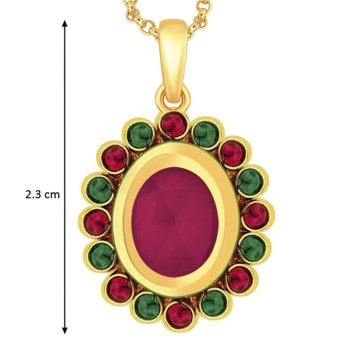Cadeaux Diwali femmes 18 carats plaqué or floral Meena Pendentif + Chaîne gratuit pour &MWYMS