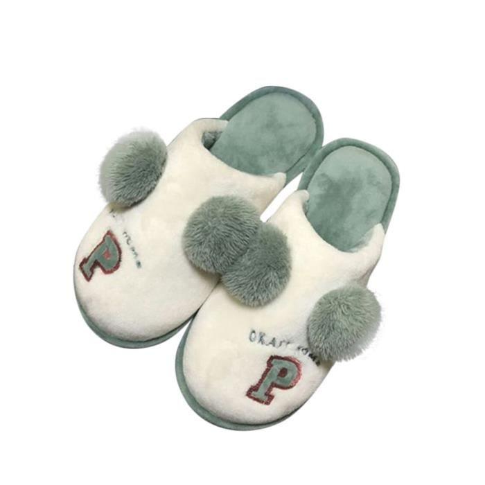 Napoulen®Mode chaussons doux Coton-Pad hiver doux chaussures chaudes VERT-XYM70905901GN pary9YluhC