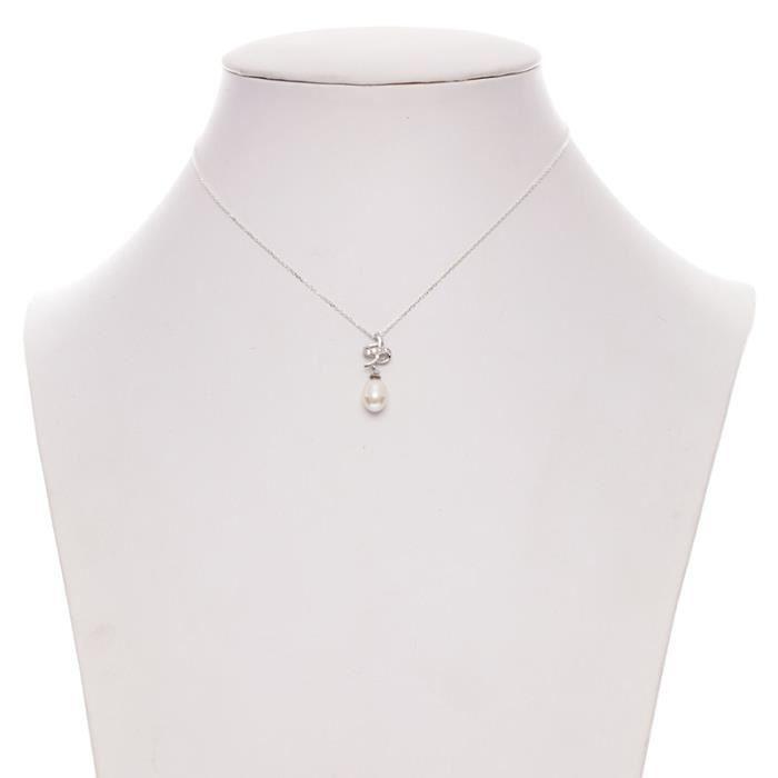 Mes-Bijoux.fr - Pendentif + Chaîne Femme en Perles de culture Blanche et Argent 925-1000 - 8P0829gv