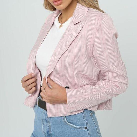 Blazer Veste Manteau Lattice À Tops Costume Femmes Carreaux Slim Outwear Longues Dm8483 Manches XwOxz60