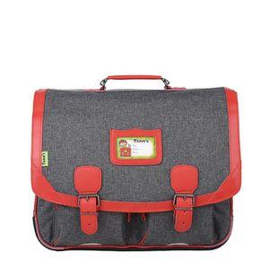TANN'S Cartable 2 compartiments primaire garçon - 41 cm - Rouge