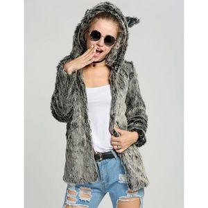 3548ef669bc40 Manteau chic décontracté fausse fourrure veste mince épais manteau ...