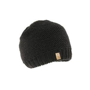 9053ef8a01f Bonnet fille et garçon noir en laine tricoté main collection R ...