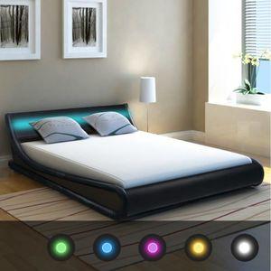 SOMMIER vidaXL Cadre de lit avec LED 140 x 200 cm Cuir art