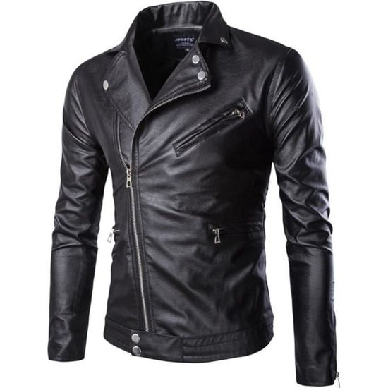 Mode Blouson Avec Cuir Homme Jacket Moto Outaking Casual Slim En Veste Zip Manteau vwFqxfH5