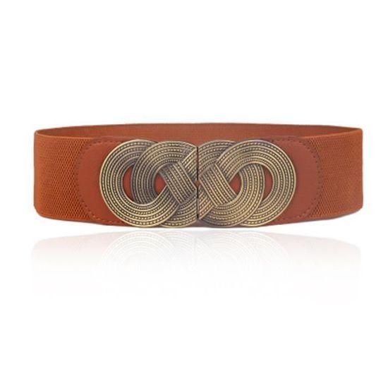 Fashion Vintage Femmes Large ceinture élastique... Marron - Achat ... 108a0e0eab5