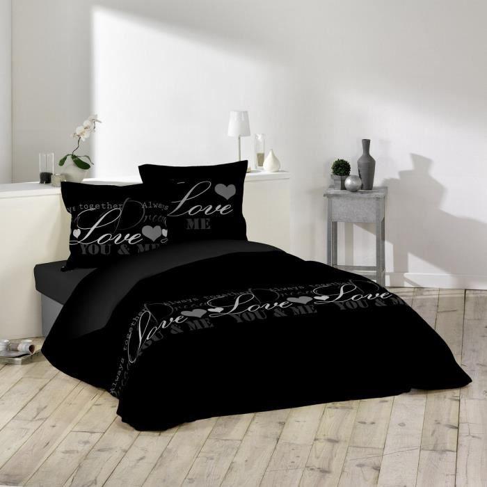 DOUCEUR D'INTERIEUR Parure de couette Love Dreams 100% coton - 1 housse de couette 220x240 cm + 2 taies 63x63 cm noir