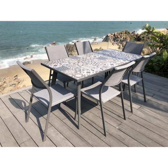 Ensemble 1 table rectangulaire avec 6 chaises en métal et plateau en grès - 162x82x74cm - Gris