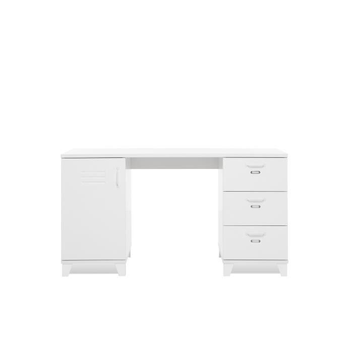 Panneaux de particules et MDF - Blanc - L 140 x P 60 x H 75 cm - 1 porte,3 tiroirs - Fabrication européenneBUREAU - REHAUSSE BUREAU
