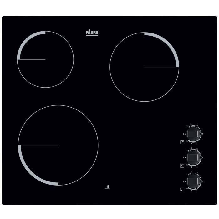 FAURE FEV6131FBA Table de cuisson vitrocéramique-3 foyers-5300 W-L 59 x P 52cm-Revêtement verre-Noir